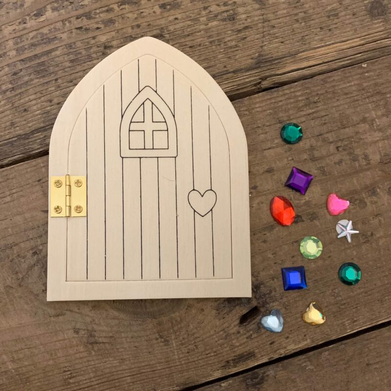 Wooden Fairy Door Kit with Gems