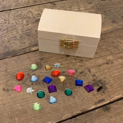 Mini Wooden Treasure Chest Kit with Gems