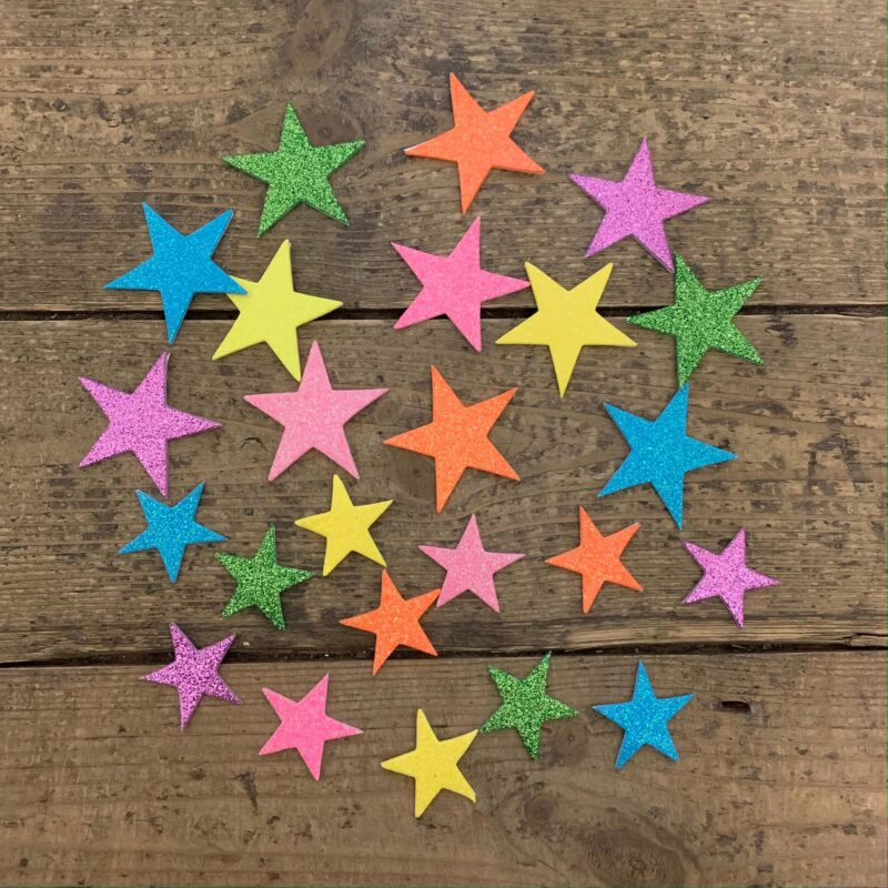 Pastel Glitter Star Foam Stickers x 24