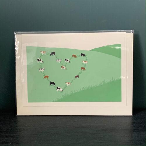 Cows on Hillside Heart Greetings Card