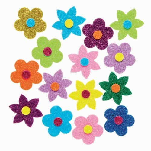Glitter Flower Foam Stickers x 24