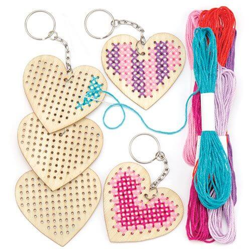Heart Wooden Cross Stitch Keyring Kit