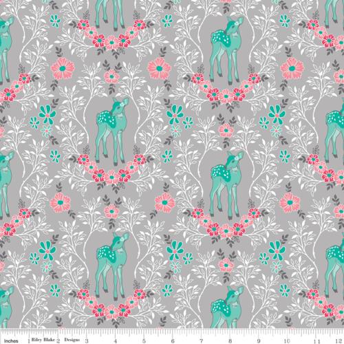 Riley Blake Flora & Fawn Deer Grey - £14 per metre