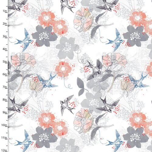 Marbella by 3 Wishes Fabrics: Swallows - £8 per metre