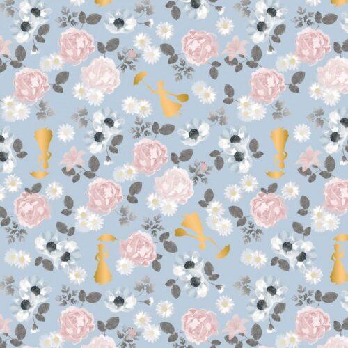 Mary Poppins Blossom Metallic Cotton Fabric - £10 per metre