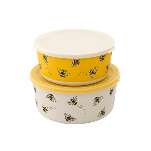 Cath Kidston Bee Set of Two Round Bamboo Lunch Boxes