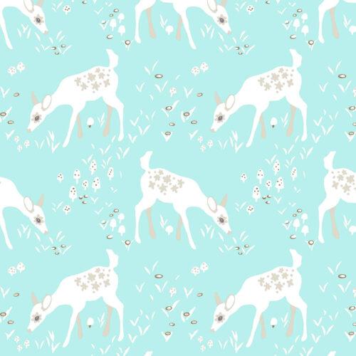 Woodland Gathering Deer: Turquoise Cotton Fabric - £14 per metre