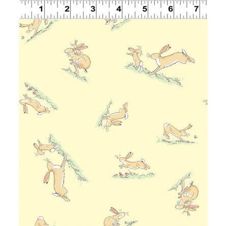 Guess How Much I Love You: Rabbit Toss Yellow Cotton Fabric - £14 per metre