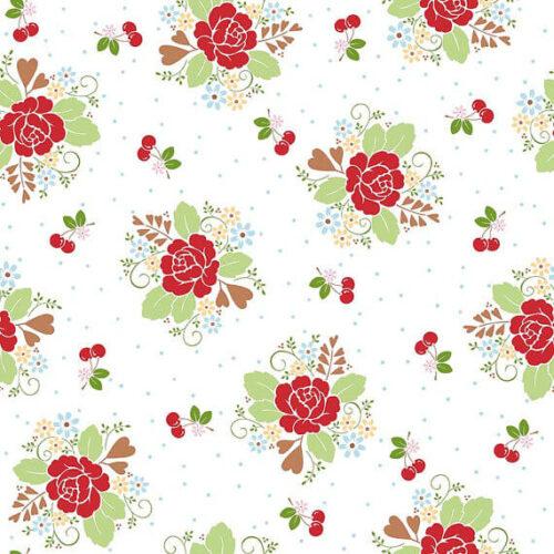 Riley Blake Sew Cherry Main White - £15 per metre