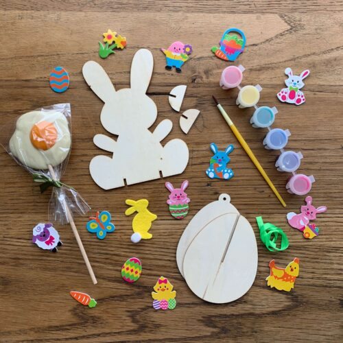 Misco's Chocolate Lolly, Wooden Easter Bunny and Egg Craft Kit