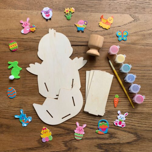 Easter Chick Wooden Basket & Egg Cup Craft Kit