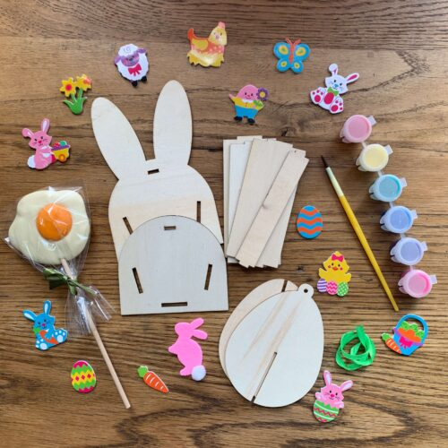 Misco's Chocolate Lolly, Easter Bunny Wooden Basket & Egg Craft Kit