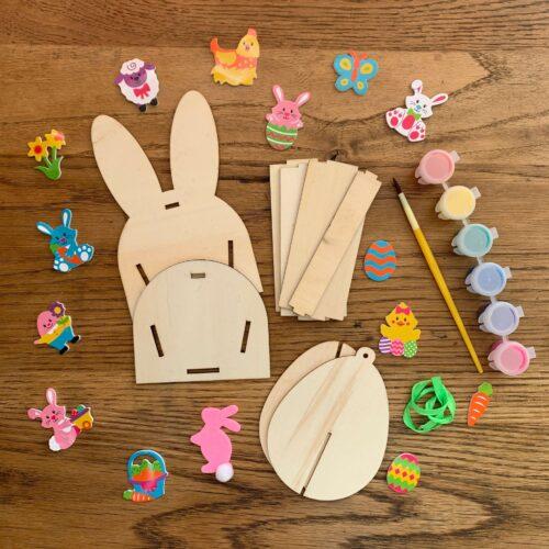 Easter Bunny Wooden Basket & Wooden Egg Craft Kit