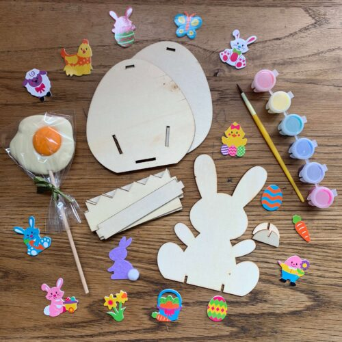 Misco's Chocolate Lolly, Easter Egg Wooden Basket & Bunny Craft Kit