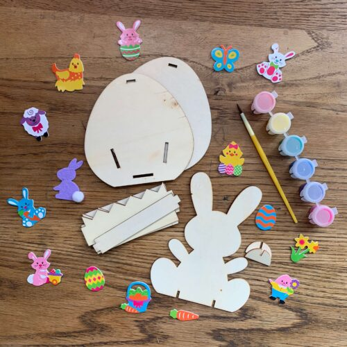 Easter Egg Wooden Basket & Wooden Bunny Craft Kit
