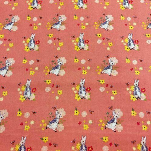 Peter Rabbit Floral Bee Cotton Fabric - £9 per metre