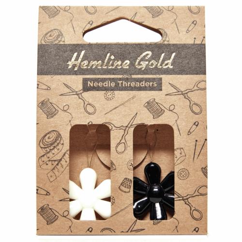 Hemline Gold Pack of 2 Flower Needle Threaders