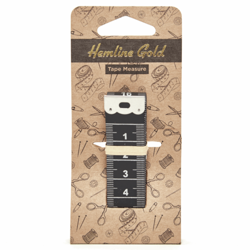 Hemline Gold Black Tape Measure: 150cm/60in