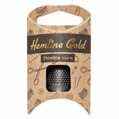Hemline Gold Medium Black Thimble