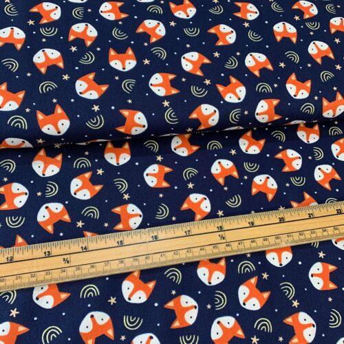 Rose & Hubble Fox on Navy Cotton Poplin Fabric - £8 per metre