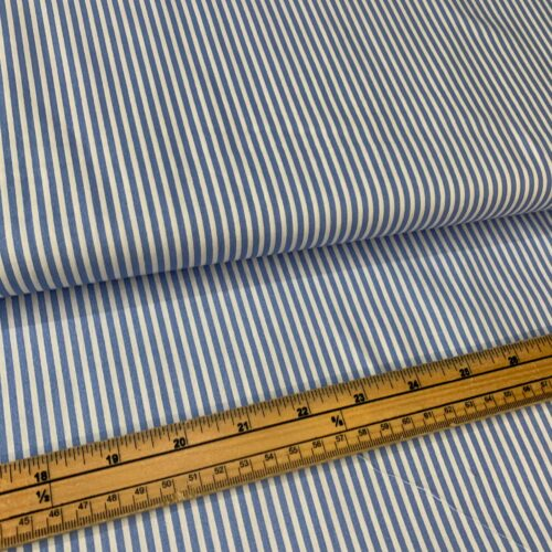 Rose & Hubble Cotton Poplin Stripe Fabric: Pale Blue - £7 per metre