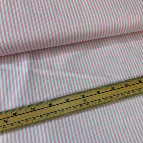 Rose & Hubble Cotton Poplin Stripe Fabric: Pink - £7 per metre