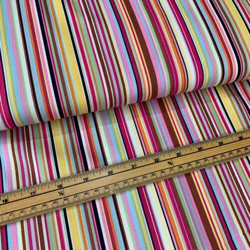 Rose & Hubble Cotton Poplin Stripe Fabric: Multi Col 2 - £7 per metre
