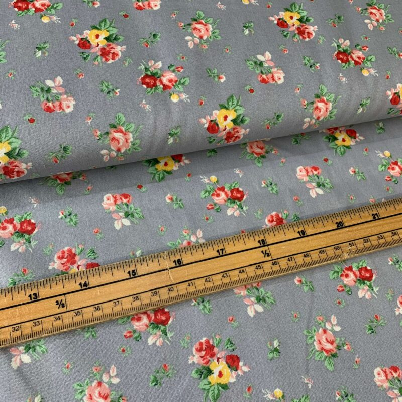 Rose & Hubble Grey Floral Cotton Poplin Fabric - £8 per metre