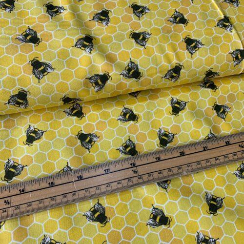 Rose & Hubble Bee on Honey Cotton Poplin Fabric - £8 per metre