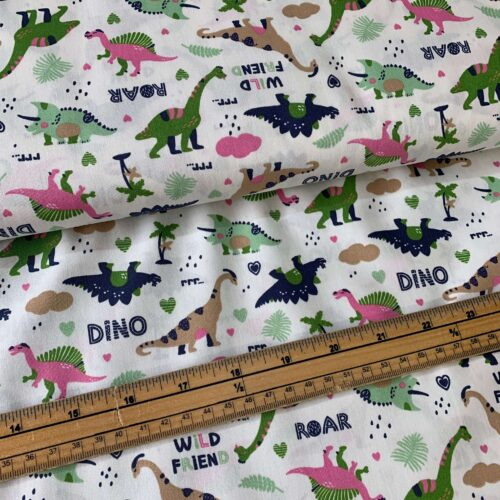 Rose & Hubble Dinosaur Cotton Poplin Fabric - £8 per metre