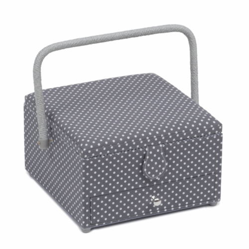 Mini Grey Spot Square Sewing Box with Drawer