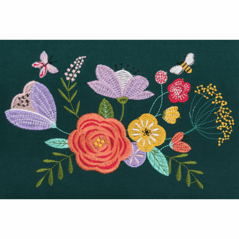 Teal Floral Garden Embroidered Sewing Box