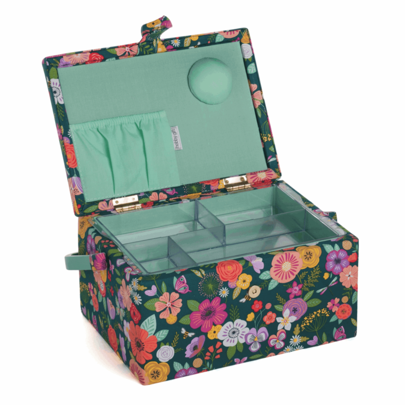 Teal Floral Garden Sewing Box