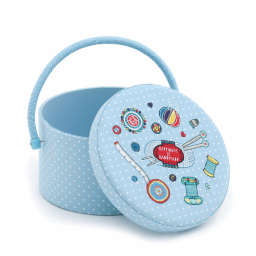 Contemporary Notions Round Embroidered Sewing Box