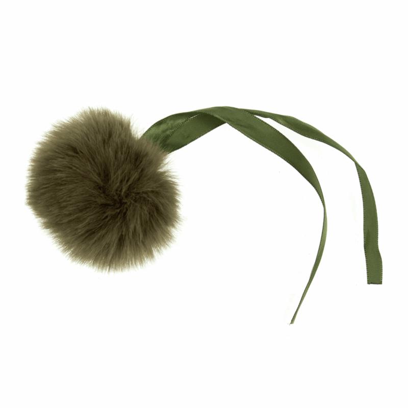 Faux Fur Khaki Pom Pom: Medium