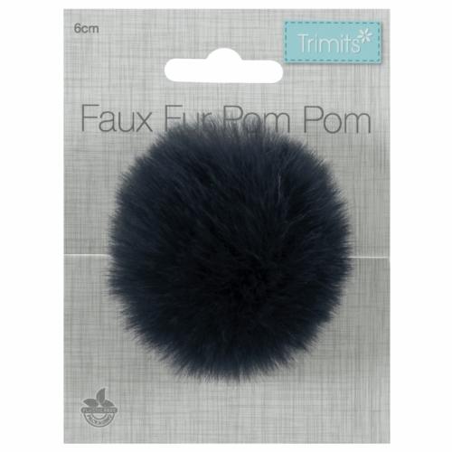 Faux Fur Navy Pom Pom: Medium