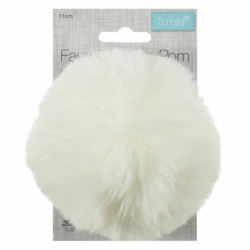 Faux Fur Cream Pom Pom
