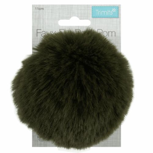 Faux Fur Khaki Pom Pom