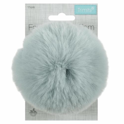 Faux Fur Light Blue Pom Pom