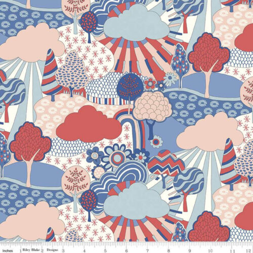 Liberty Fabrics - The Carnaby Collection: Retro Indigo Sunny Afternoon - £15 per metre