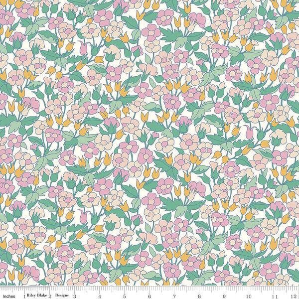 Liberty Fabrics - The Carnaby Collection Bohemian Brights Piccadilly Poppy Pastel - £15 per metre