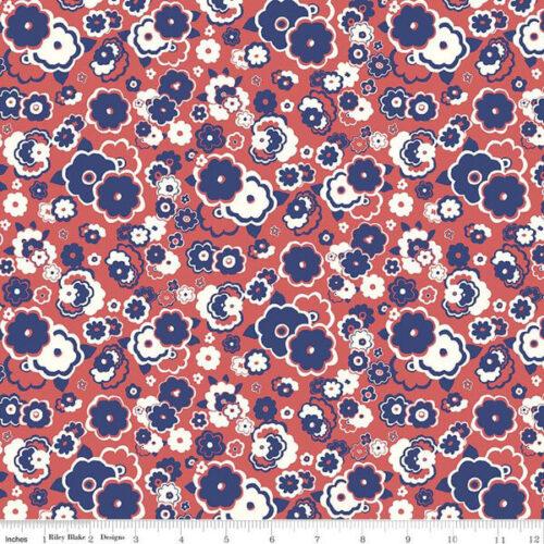 Liberty Fabrics - The Carnaby Collection Retro Indigo Cosmos Cloud - £15 per metre