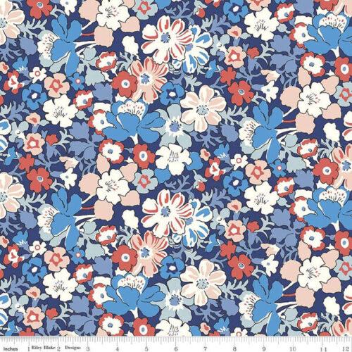 Liberty Fabrics - The Carnaby Collection Retro Indigo Westbourne Posy - £15 per metre