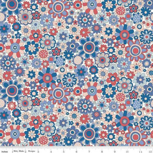 Liberty Fabrics - The Carnaby Collection Retro Indigo Paradise Petals - £15 per metre