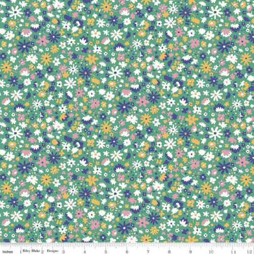 Liberty Fabrics - The Carnaby Collection Bohemian Brights Bloomsbury Blossom Green - £15 per metre