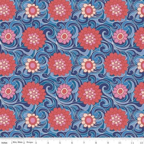 Liberty Fabrics - The Carnaby Collection Retro Indigo Carnation Carnival - £15 per metre