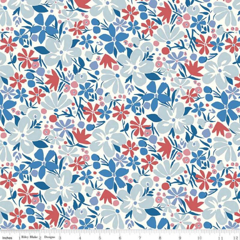 Liberty Fabrics - The Carnaby Collection Retro Indigo Bohemian Bloom - £15 per metre