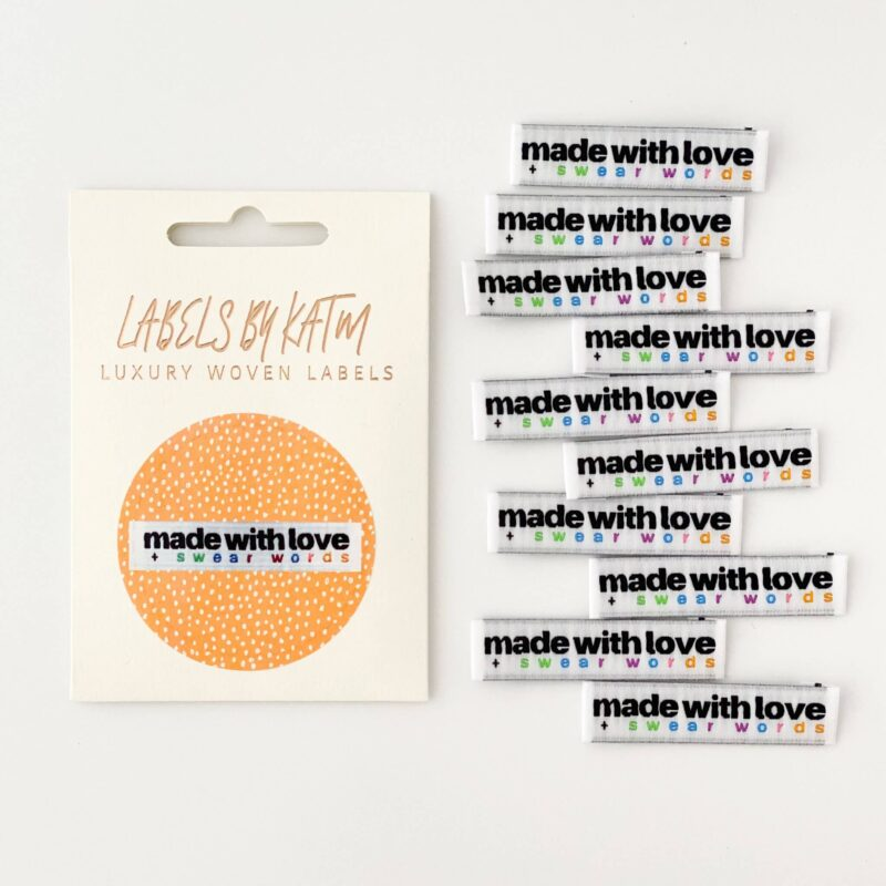 KATM Made With Love and Swear Words Woven Labels - 10 pack