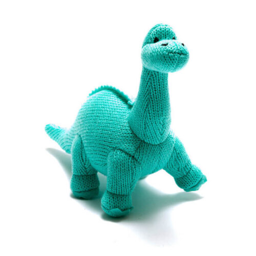 Best Years Small Ice Blue Knitted Diplodocus Rattle