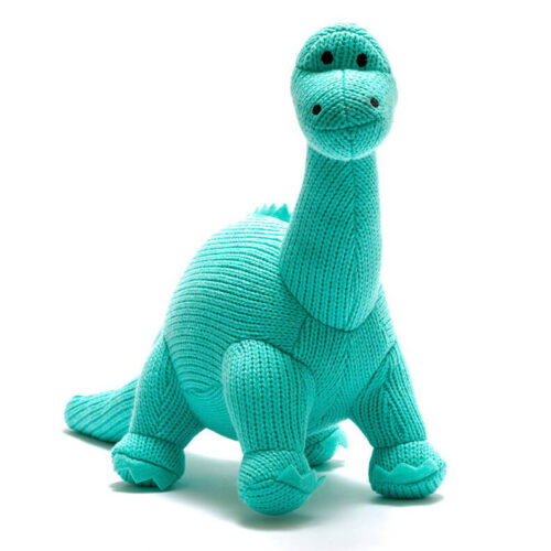 Best Years Knitted Dinosaur Ice Blue Diplodocus Toy